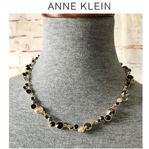 Anne Klein Gold-Tone Jet and Glass Stone Necklace